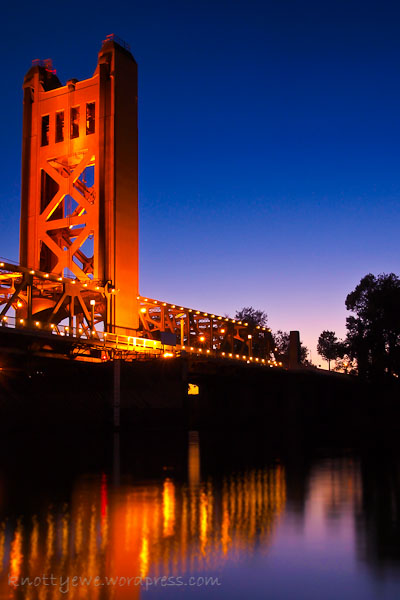 Tower bridge at sunset in Sacramento, CA.