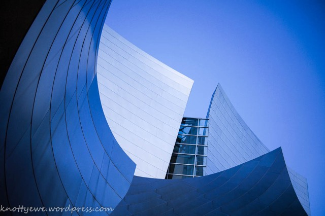 Walt Disney Concert hall in the blue hour.