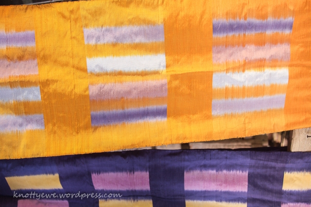 All that work is then woven on a loom and the painted color band weaves itself into a pattern.