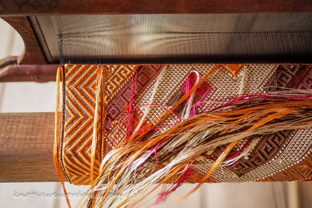 Laos silk weaving. Each pick requires hand manipulation of different colors in each section.