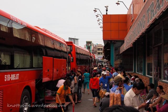 Phuong Trang bus depot in HCM city.